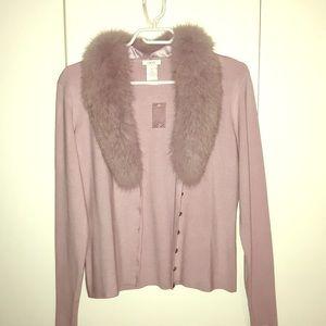 Silk cardigan with rabbit fur trim